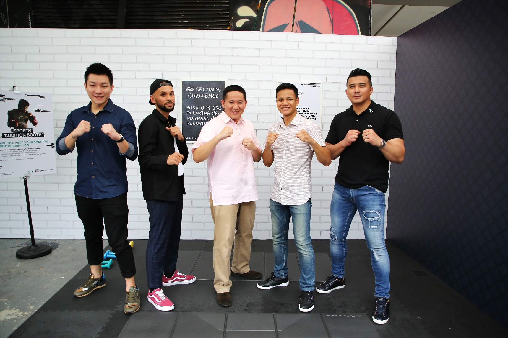 2018-media-launch-1: SPS Amrin with Enoch Teo, THELIONCITYBOY, Muhammad Ridhwan and Aaron Aziz