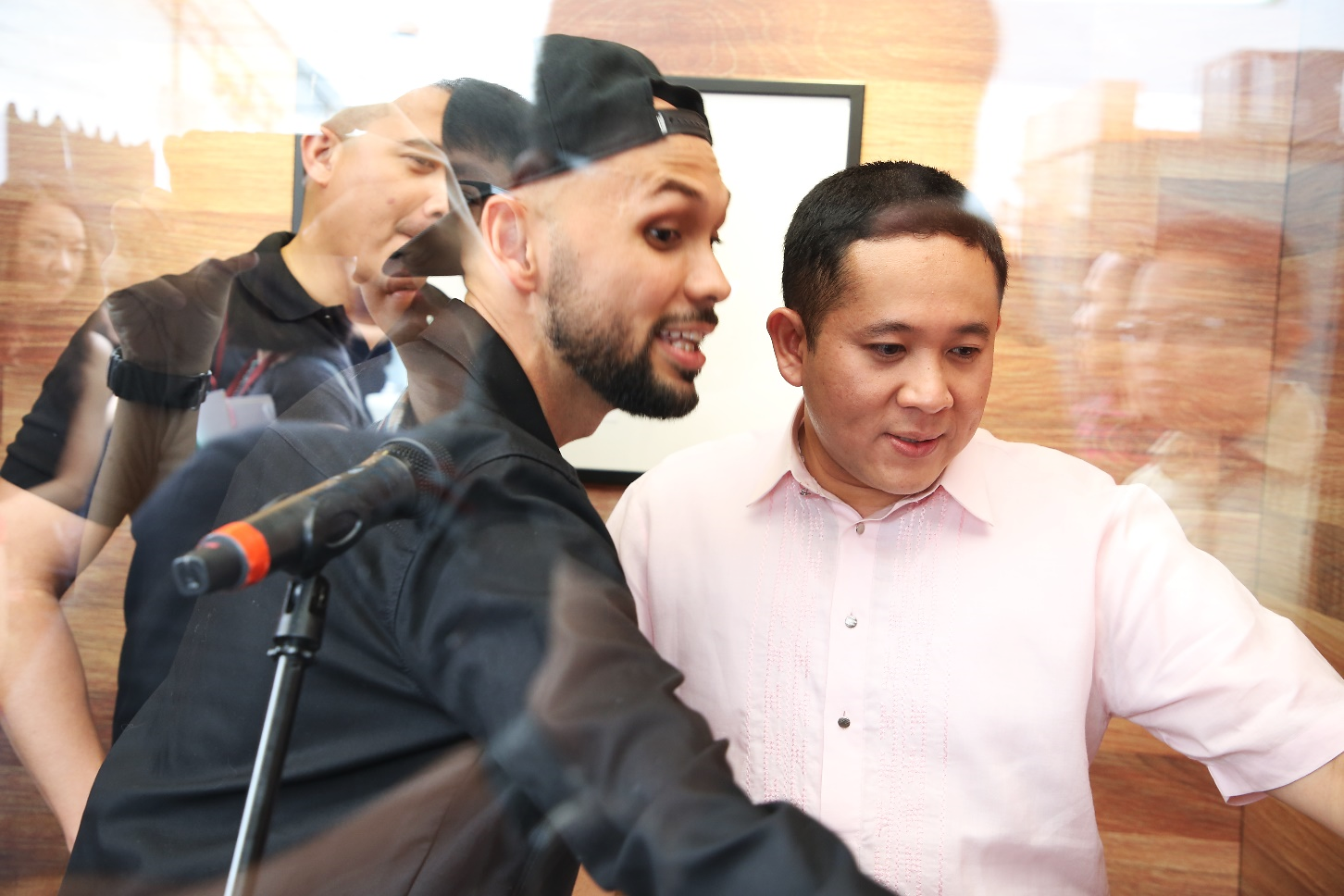 2018-media-launch-2: SPS Amrin Amin tries out the Entertainment audition booth with Aaron Aziz and THELIONCITYBOY